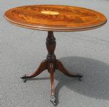 Oval Mahogany Pedestal Inlaid Coffee Table
